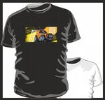 KOOLART TYRE TRAX 4x4 Design for Yellow Land Rover Defender 90 mens or ladyfit t-shirt